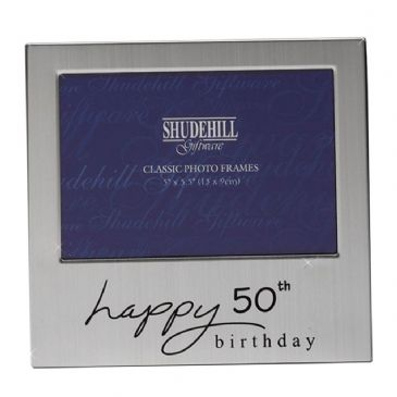 Happy Birthday Satin Silver Plated Photo Frame 50th